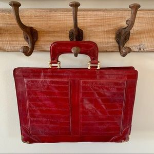 Vintage genuine eel skin large clutch hand bag